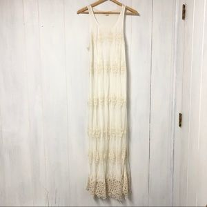 Boho Cream Lace Overlay Maxi Dress